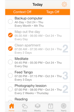 Routines - Home tab for quick access to tasks happening today